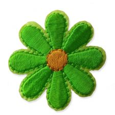 LIME GREEN DAISY MOTIF IRON ON EMBROIDERED PATCH APPLIQUE